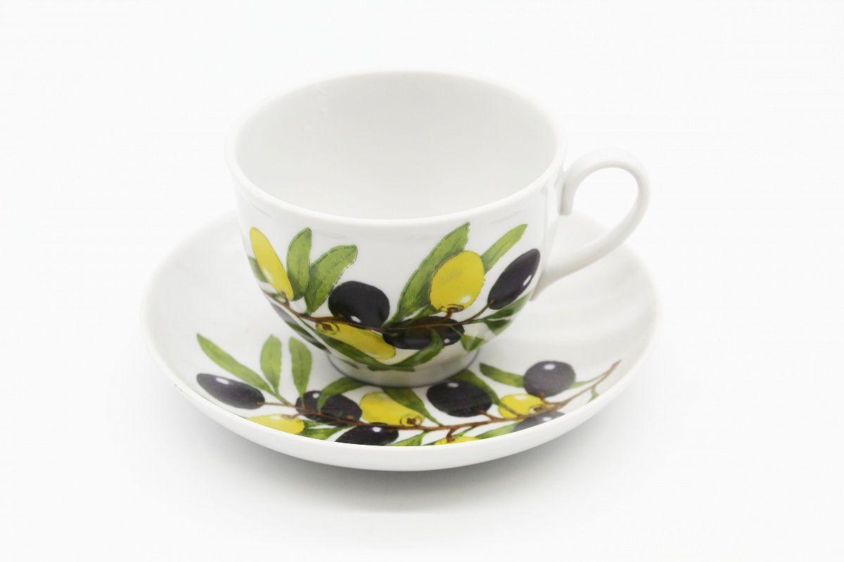 Dulevo porcelain / Tea cup and saucer set, 12 pcs., 275 ml Pomegranate Olives
