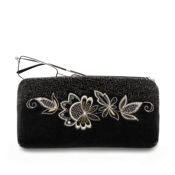Velvet eyeglass case 'Mirage' in black with silver embroidery