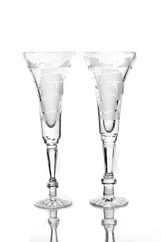 "Set of crystal glasses ""Leipzig"" with engraving 2 pieces"