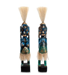 """The wooden statue of"""" Asmat """" 33cm black, turquoise"""