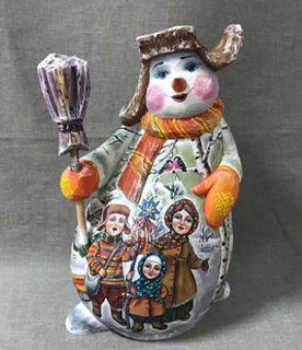 Bogorodskaya toy Snowman - Christmas souvenir, Bogorodskaya factory