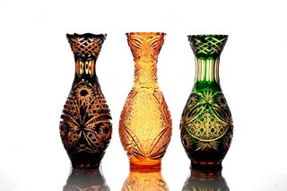 "Crystal vase for flowers ""Hope"" large amber-green"
