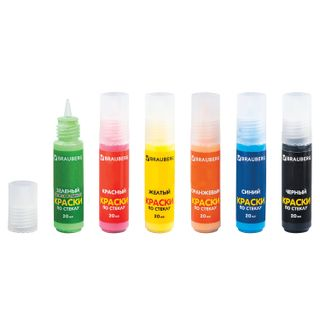 Paint on glass (stained glass) BRAUBERG, 6 colors in 20 ml (fluorescent 1), 12 templates, suspension