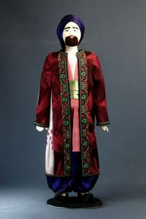 Doll gift porcelain. Suit Crimean Tatar. Late 19th - early 20th century.