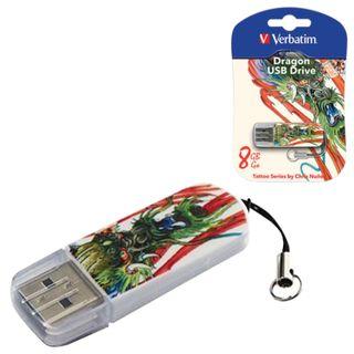 VERBATIM / Flash Drive 8 GB, Mini Tattoo Edition Dragon, USB 2.0, white with pattern