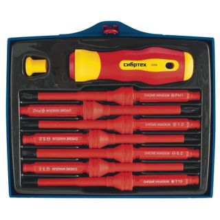 Dielectric screwdriver with interchangeable SL/Ph stings, 7 items, SIBBTECH, up to 1000 B, plastic box