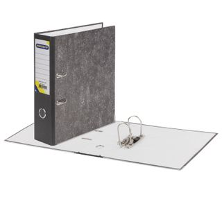 Folder-Registrar OTISBURG, reinforced spine, marble cover, 80 mm, with corner, black