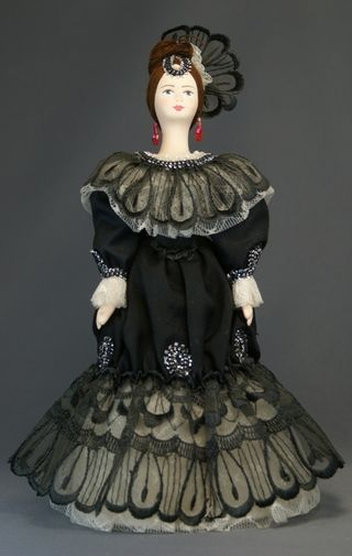 Doll gift porcelain. Lady in court dress. 1860s St Petersburg