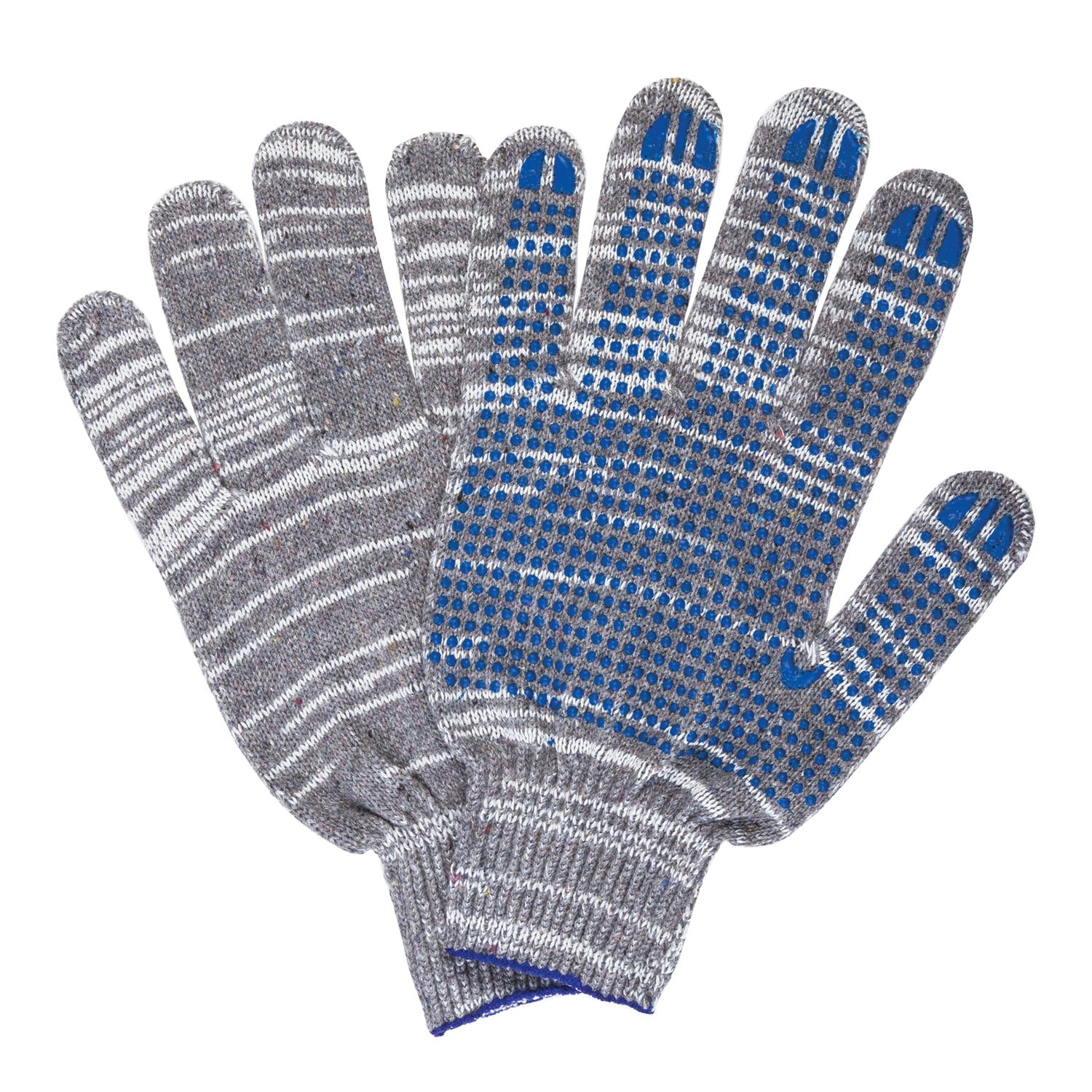 LIMA / Cotton gloves LUX 2, SET of 5 PAIRS, grade 10, 50-52 g, 133 tex, PVC point, GRAY