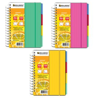 Small FORMAT Notebook (115 x152 mm) A6, 150 sheets, comb, gum, plastic cover, line, BRAUBERG,