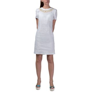 Dress womens Safari white color with Golden embroidery
