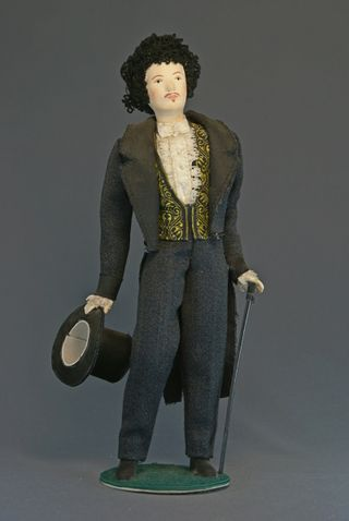 Doll gift porcelain. Cavalier. The secular male costume. 1st half of the 19th century, Russia.