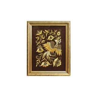 """Mural """"Bird spring"""" brown with gold embroidery"""
