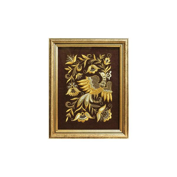Mural 'Bird spring' brown with gold embroidery
