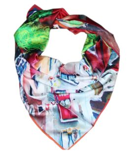 "Scarf with author's art print 110x110 ""My love on the 5th floor"""