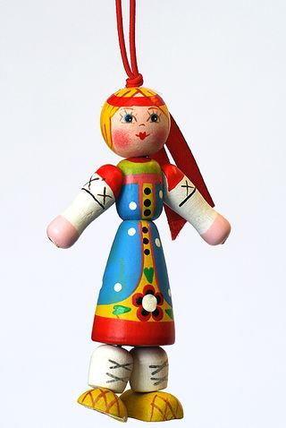 Doll gift Girl in Russian folk costume of the Moscow province