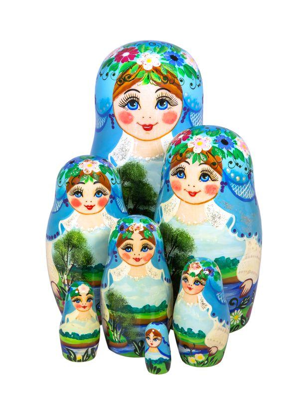 Khokhloma painting / Matryoshka 7 dolls author's, Golden Khokhloma