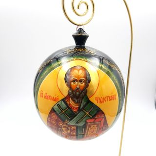 "Palekh / Christmas tree ball ""Nikolay the Wonderworker"" wooden, master Zimin"