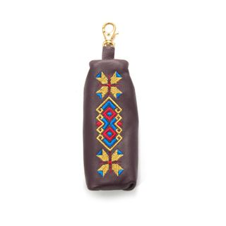 """Leather keychain """"Geometry"""" purple with gold embroidery"""