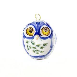 Christmas toy Owl underglaze color painted, Gzhel Porcelain factory