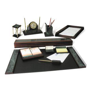 GALANT table set marble, 10 pieces, green marble/finish mahogany