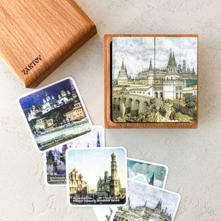 """Cubes with pictures """"views of Moscow Kremlin"""" (9 cubes in a wooden box)"""