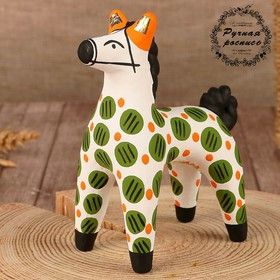 Dymkovo clay toy Horse with green circles