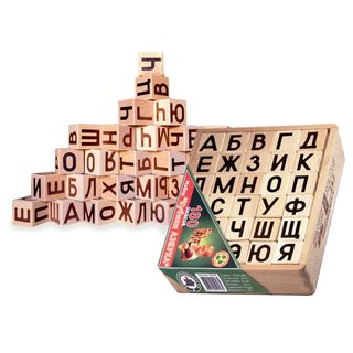 Cubes-alphabet - 30 parts in wooden box for children from 2 years