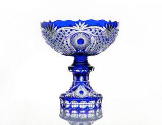 """Crystal vase for fruit """"Celebration"""" blue"""