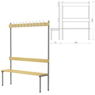 HOPE / Hanger with a bench П-091Д / 1.5, (1818х1480х370 mm), 11 hooks, gray metal and wood