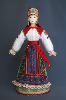 Ryazan Province, Russia. Women's festive costume. Dolls souvenir