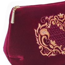 Velvet cosmetic bag 'Victoria' Burgundy color with Golden embroidery