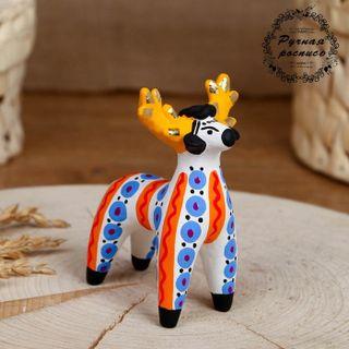 Dymkovo clay toy Reindeer with blue specks