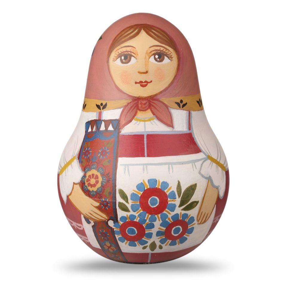 "Shugozerskaya painting / Small tumbler with a musical mechanism ""Bright Blossom"" with a spinning wheel hand-painted"