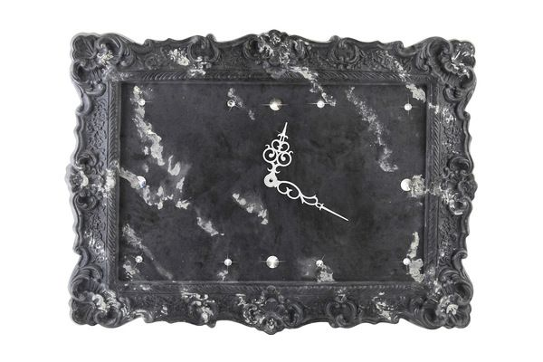Arbet Marble / Wall clock from marble Arbet ™ with rhinestones from crystal, color Graphite (black)