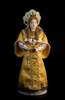 Doll gift porcelain.The Princess in the festive annuals with braids to her waist. Russia 15-16 centuries.