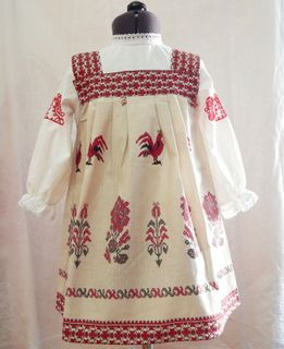 "Sundress kids ""Cocks"" Karelian patterns"