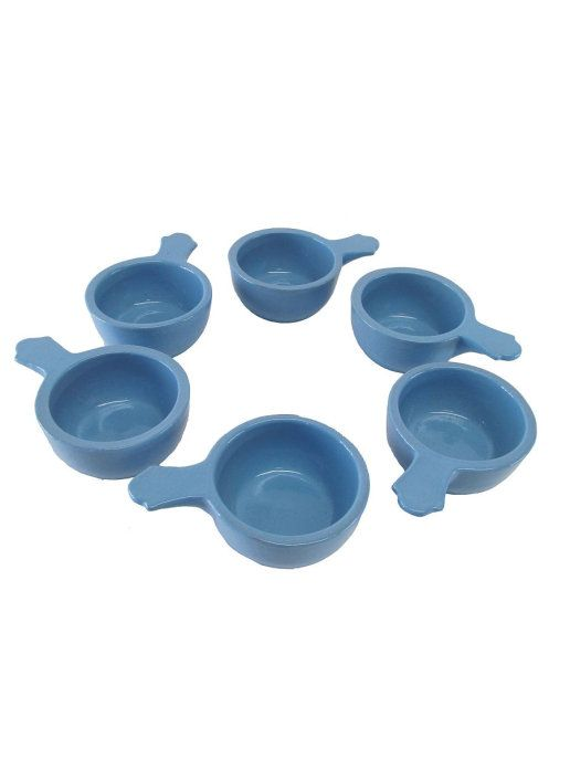 Vyatka ceramics / Set of 6 cocottes, with a capacity of 0.1 l. (blue)