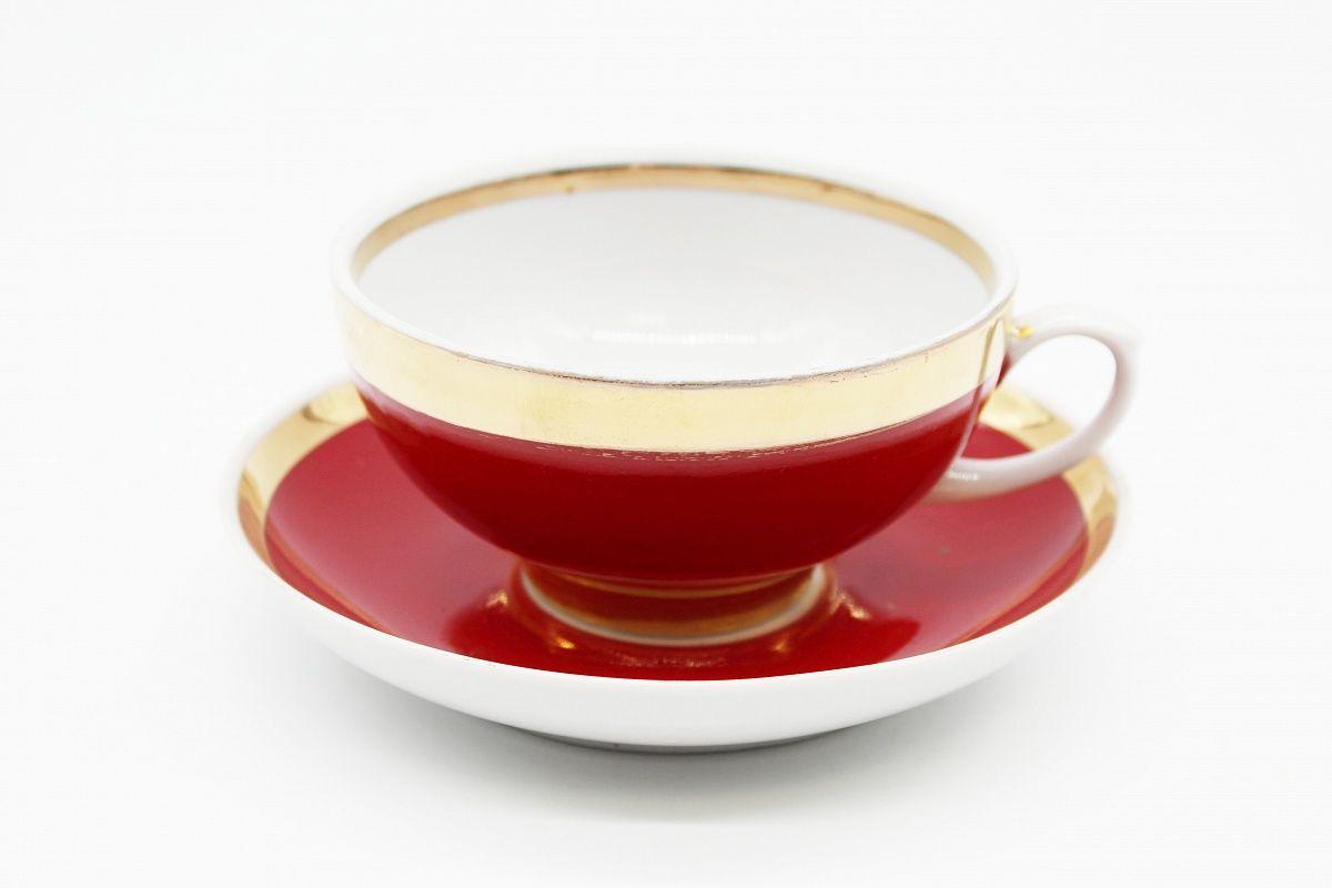 Dulevo porcelain / Set of tea cup with saucer, 12 pcs., 220 ml Ruby Rubin