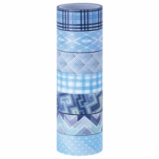 Adhesive WASHI tapes for decoration SHADES OF BLUE, 15 mm x 3 m, 7 colors, rice paper, TREASURE ISLAND