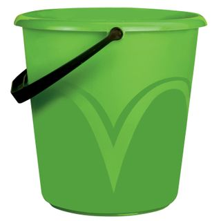 LIME / Bucket 10 l, without lid, plastic, food grade, with a glossy pattern, green color, graduated scale