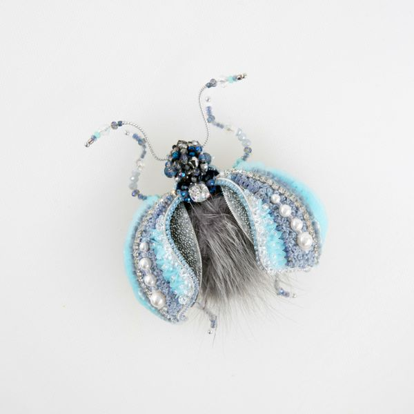 "Brooch handmade ""Crystal beetle"""