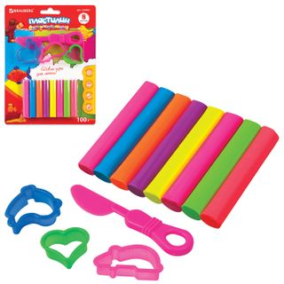 Plasticine fluorescent BRAUBERG 8 colors, 100 g, stack, 3 cookie cutters, premium QUALITY, blister pack