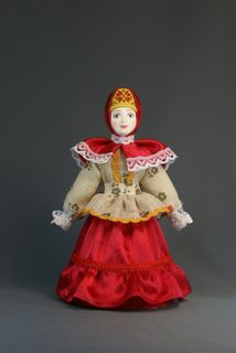 Doll gift porcelain. Russia. Women's traditional Cossack costume. 19th century.