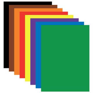 Colored paper A4 coated (glossy), 8 sheets in 8 colors, on a bracket, BRAUBERG, 200х280 mm,