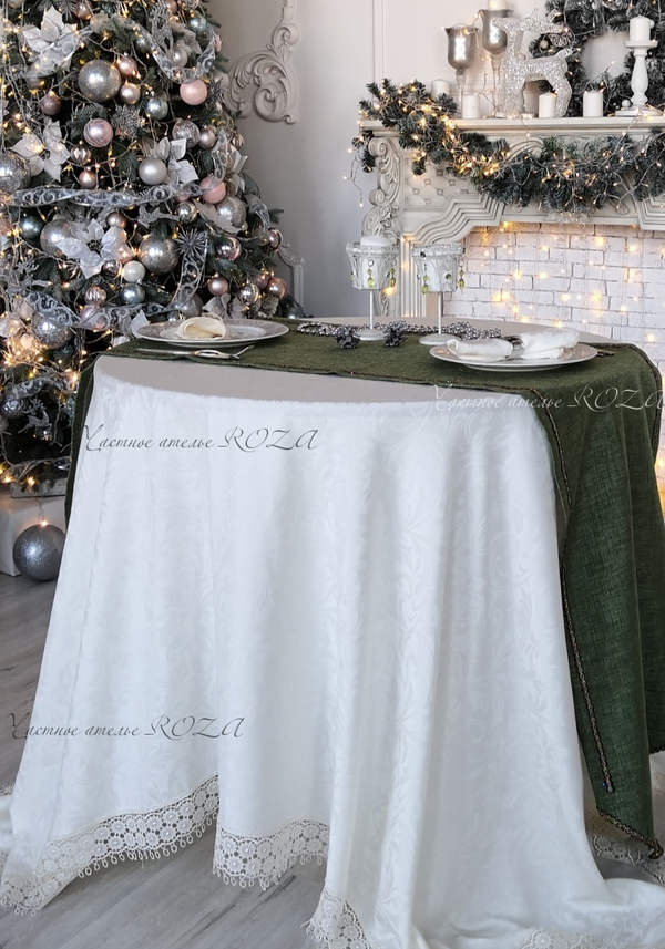 Tablecloth with lace Versailles with green carpet