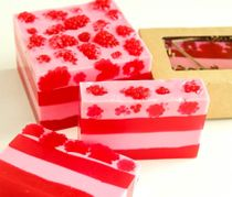 Raspberry Mousse - solid gel handmade soap for bath and shower