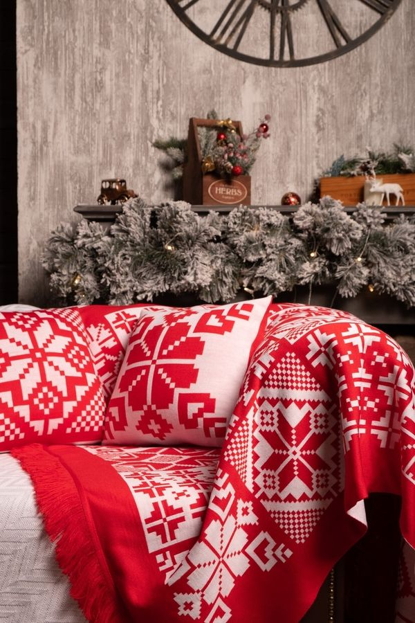 Christmas plaid fringed jacquard, color: red, white, TRICARDO, 120x160