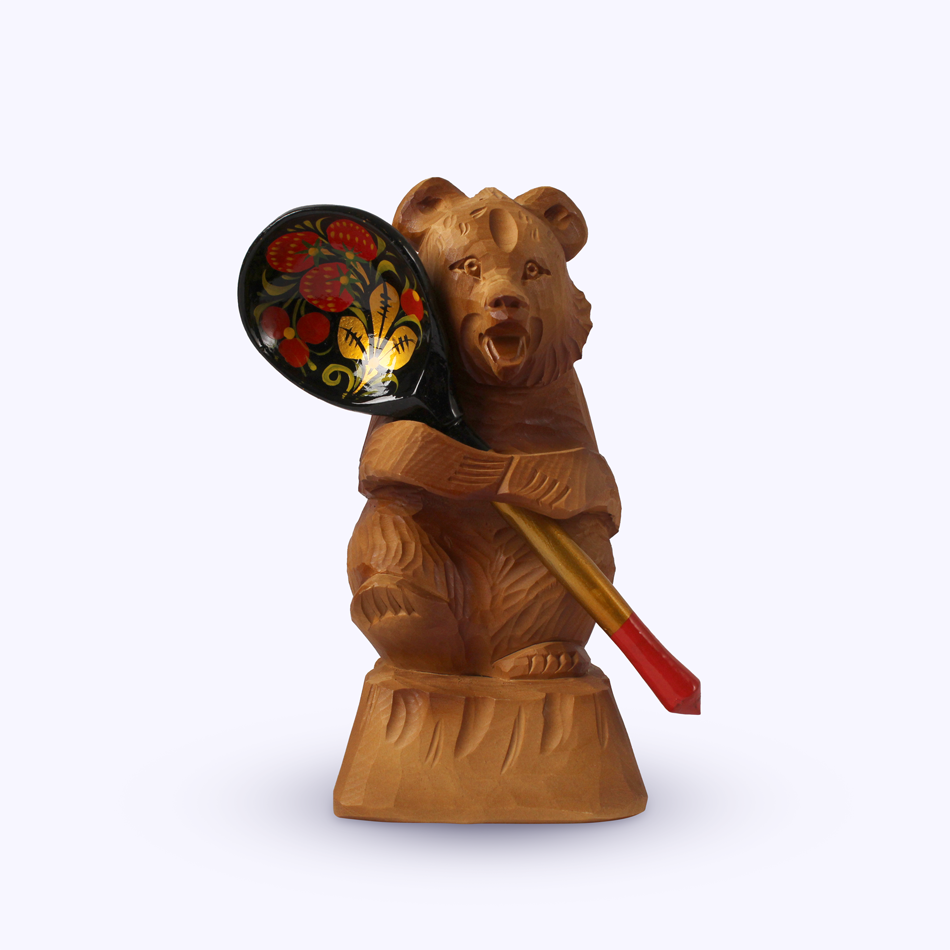 "Bogorodskaya toy / Wooden souvenir ""Bear with a spoon"""