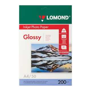 Photo paper for inkjet print, A4, 200 g/m2, 50 sheets, single-sided glossy LOMOND